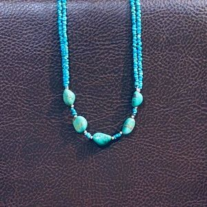 "🌟2xHP🌟Turquoise Beaded Stone Necklace 21"""